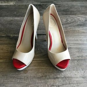 6 1/2 red, nude, and white, Jessica Simpson shoes